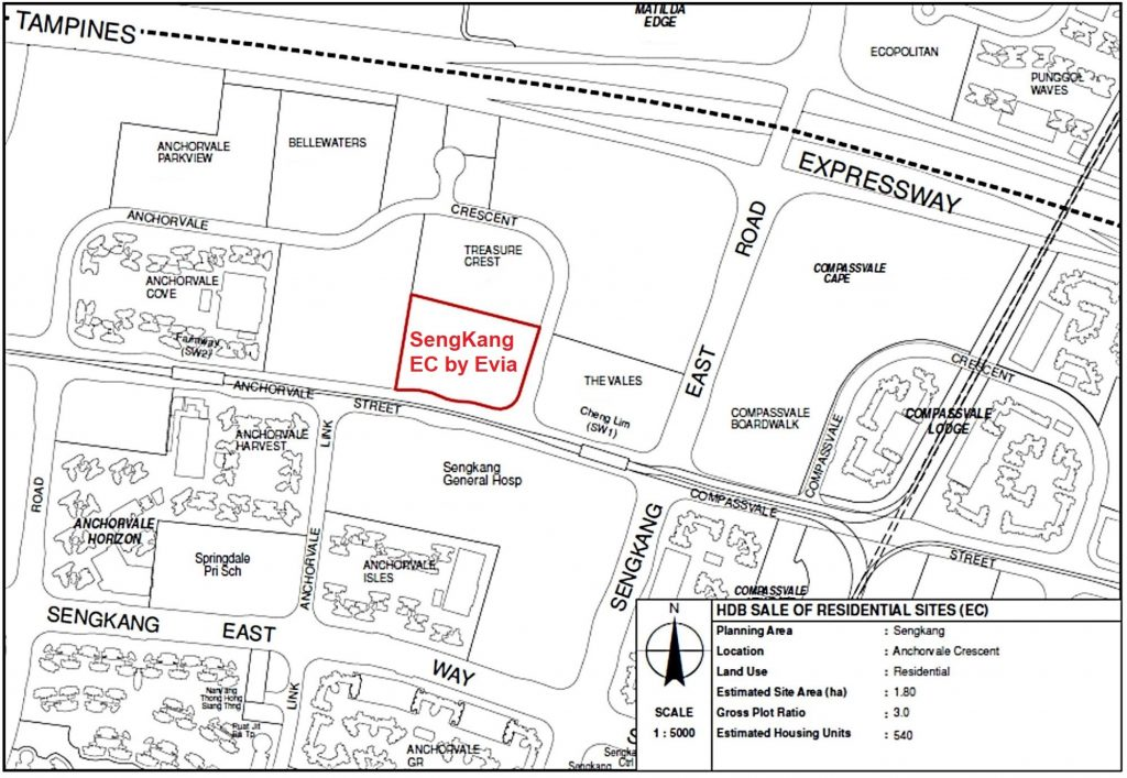 SengKang EC @ Anchorvale Crescent Location Map