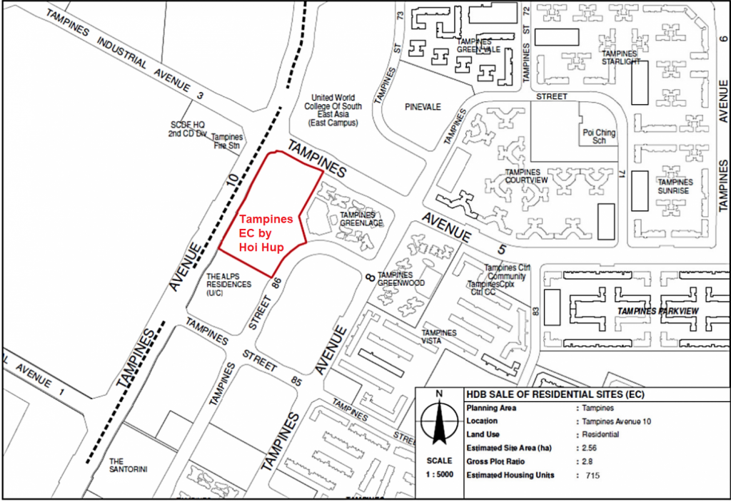 Tampines Ave 10 EC Location Map