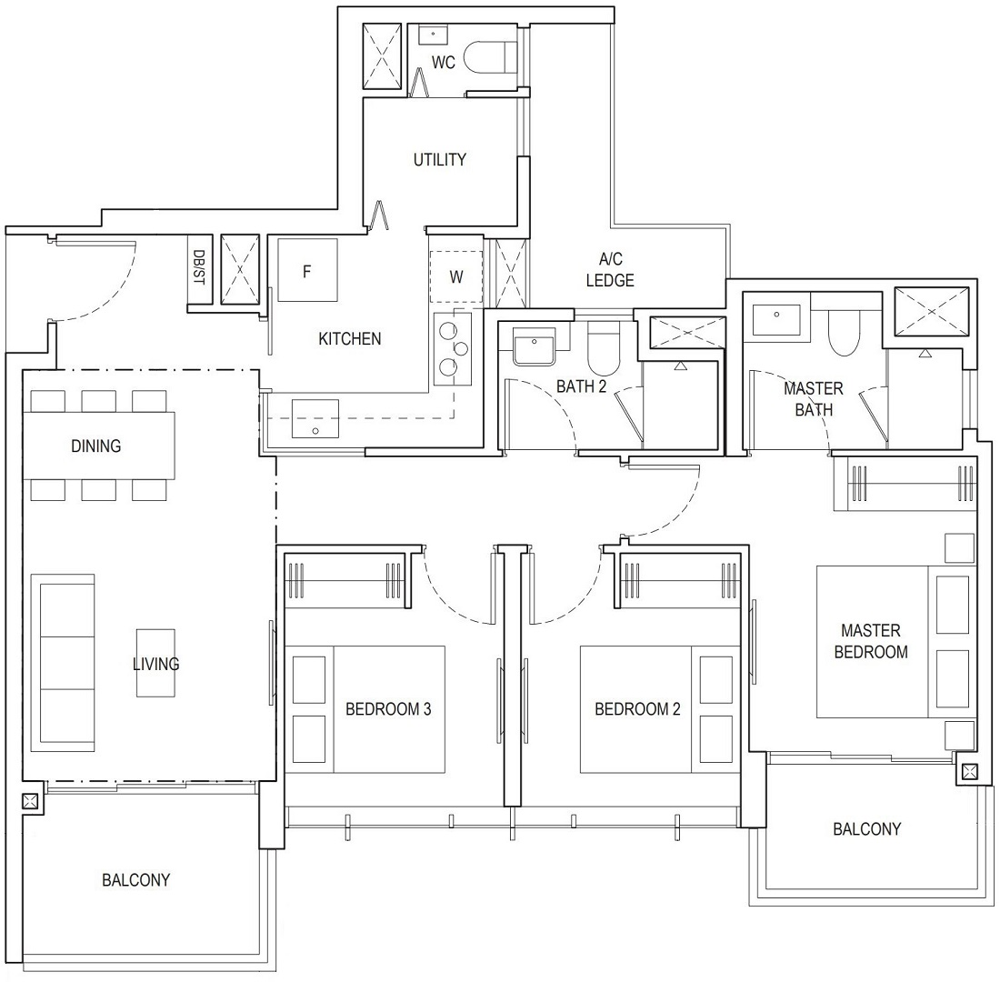 Piermont Grand EC 3 Bedroom Deluxe Floor Plan Type A3a 92 Sqm / 990 Sqft
