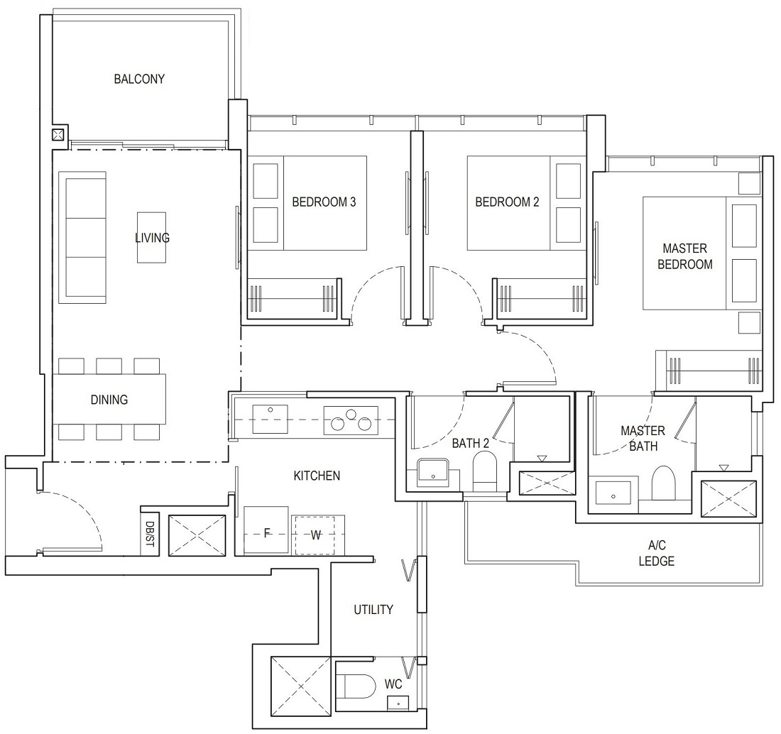 Piermont Grand EC 3 Bedroom Deluxe Floor Plan Type A3b 88 Sqm / 947 Sqft