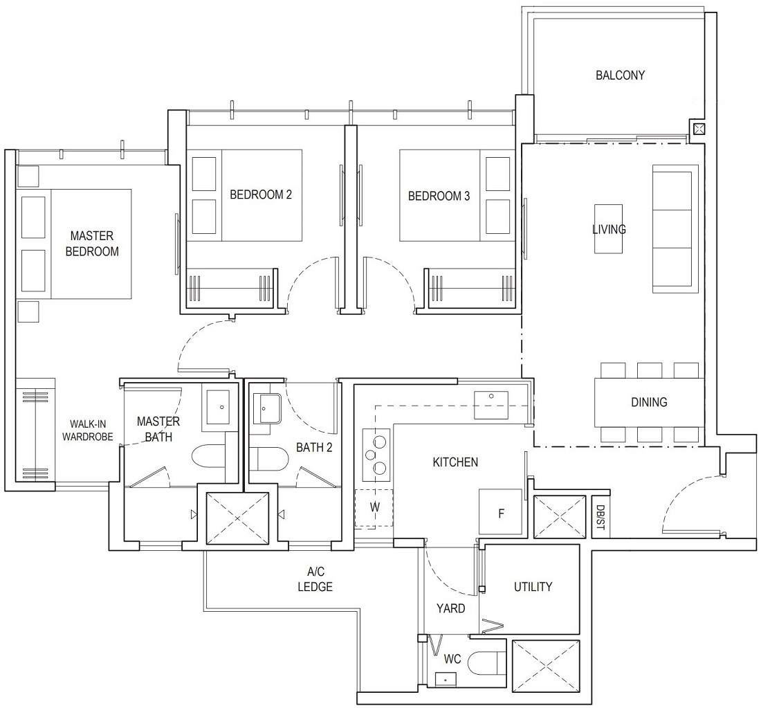 Piermont Grand EC 3 Bedroom Premium Floor Plan Type A4a 94 Sqm / 1012 Sqft