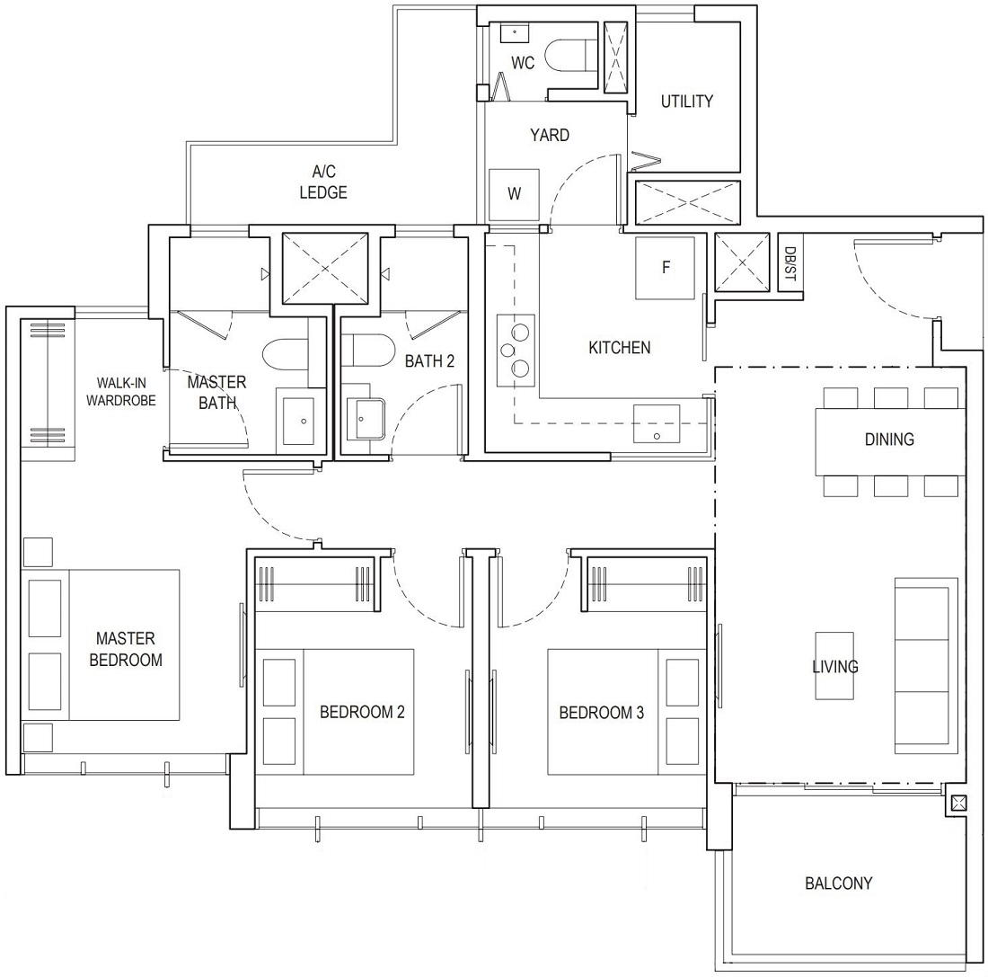 Piermont Grand EC 3 Bedroom Premium Floor Plan Type A4b 95 Sqm / 1023 Sqft