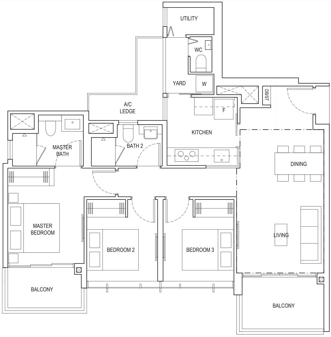 Piermont Grand EC 3 Bedroom Premium Floor Plan Type A4c 98 Sqm / 1055 Sqft
