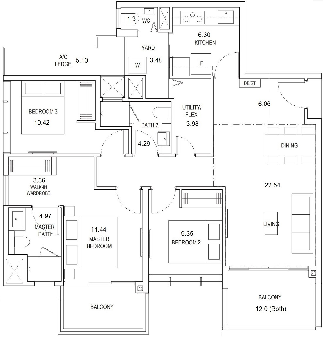 Piermont Grand Floor Plan 3 Bedroom Premium Type A4d 105 Sqm / 1130 Sqft Showflat Layout