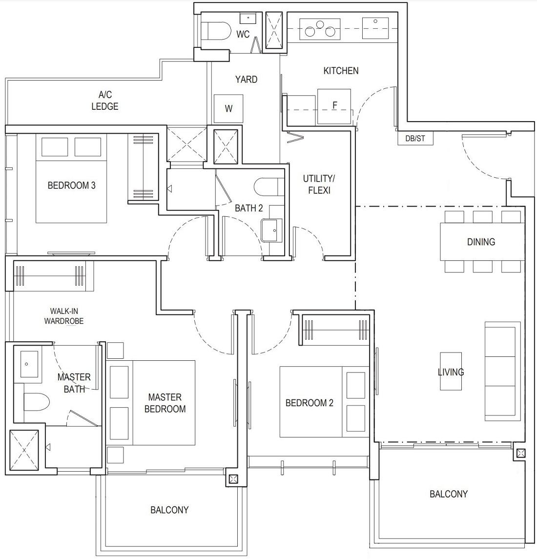 Piermont Grand EC 3 Bedroom Premium Floor Plan Type A4d 105 Sqm / 10130 Sqft