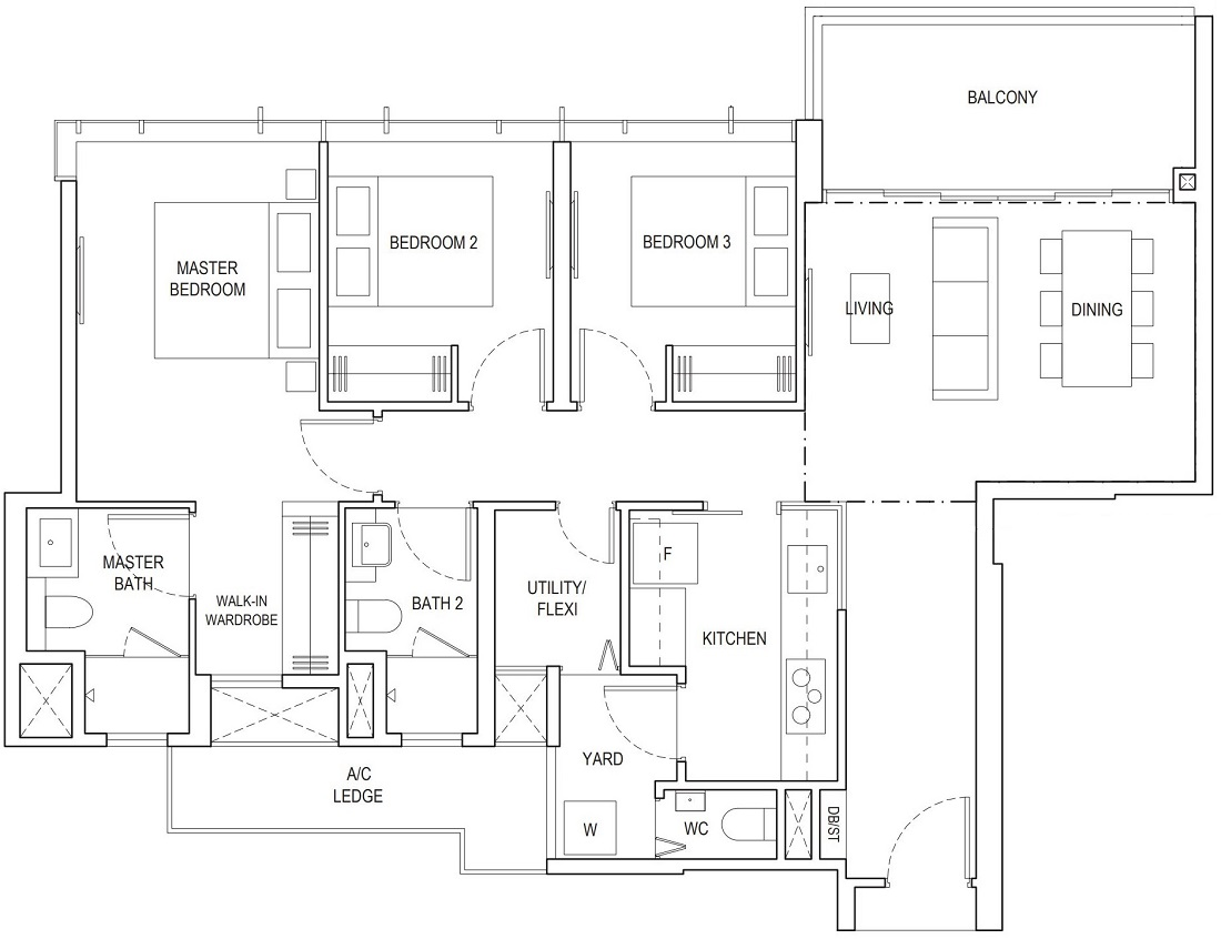 Piermont Grand EC 3 Bedroom Premium Floor Plan Type A4e 105 Sqm / 1130 Sqft