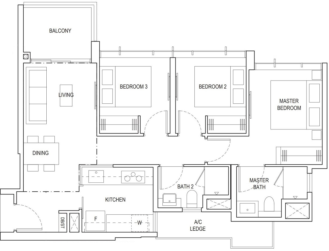 Piermont Grand EC 3 Bedroom Floor Plan