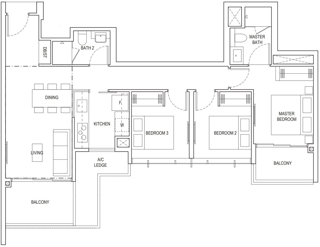 Piermont Grand EC 3 Bedroom Floor Plan Type A1c 92 Sqm / 990 Sqft