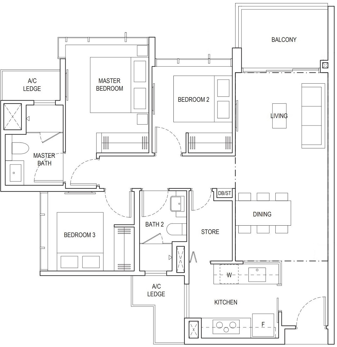 Piermont Grand EC 3 Bedroom Superior Floor Plan Type A2a 90 Sqm / 969 Sqft