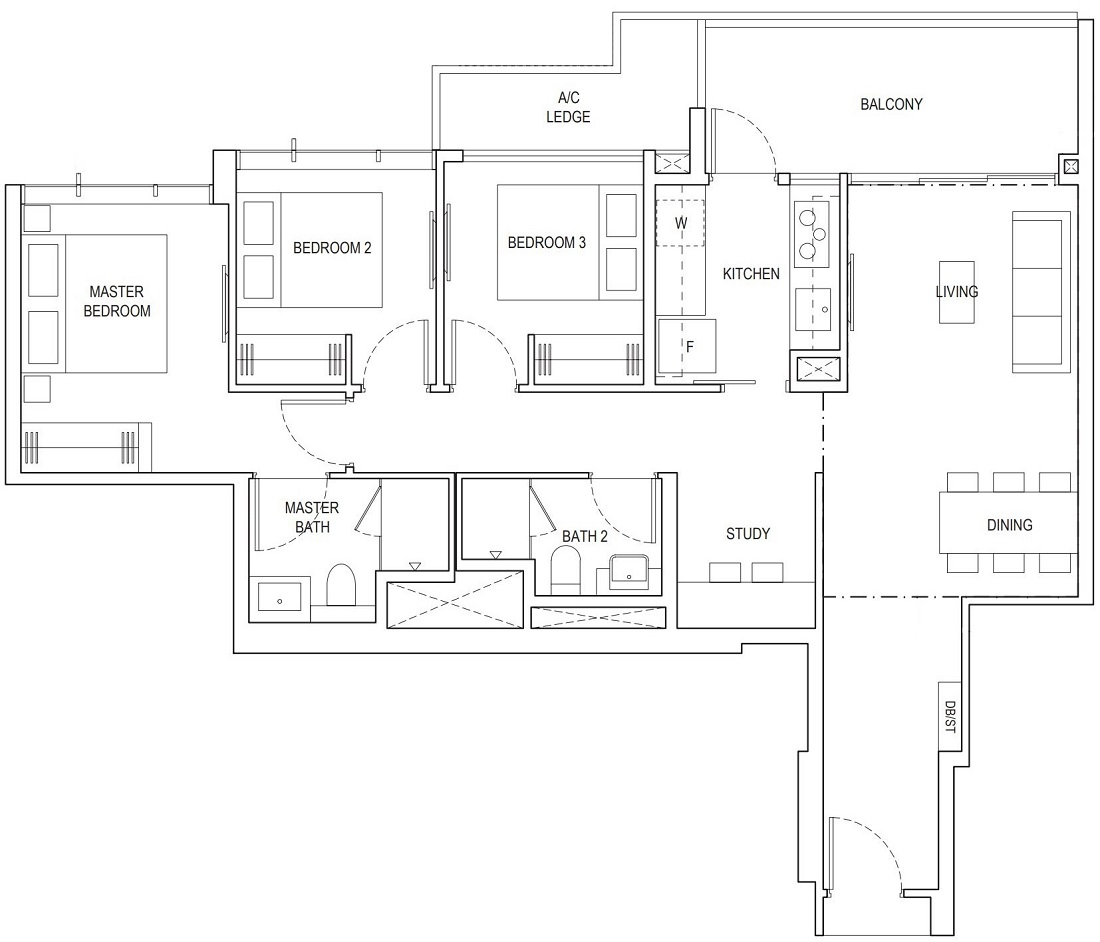 Piermont Grand EC 3 Bedroom Superior Floor Plan Type A2b 97 Sqm / 1044 Sqft