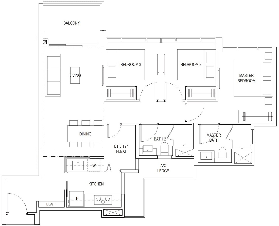 Piermont Grand EC 3 Bedroom Superior Floor Plan Type A2c 90 Sqm / 969 Sqft