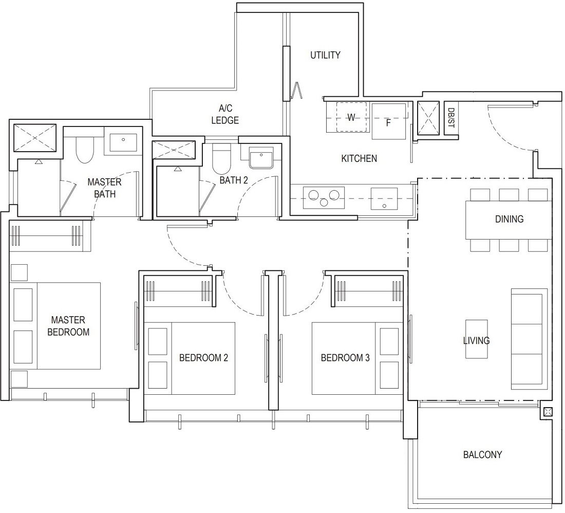 Piermont Grand EC 3 Bedroom Superior Floor Plan Type A2d 84 Sqm / 904 Sqft