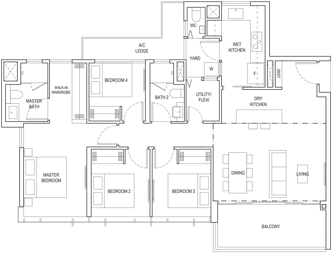 Piermont Grand EC 4 Bedroom Premium Floor Plan Type B1 121 Sqm / 1302 Sqft