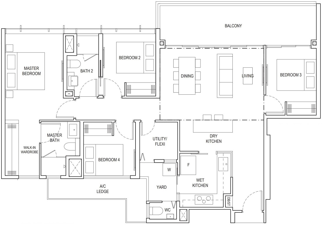 Piermont Grand EC 4 Bedroom Premium Floor Plan Type B2 126 Sqm / 1356 Sqft