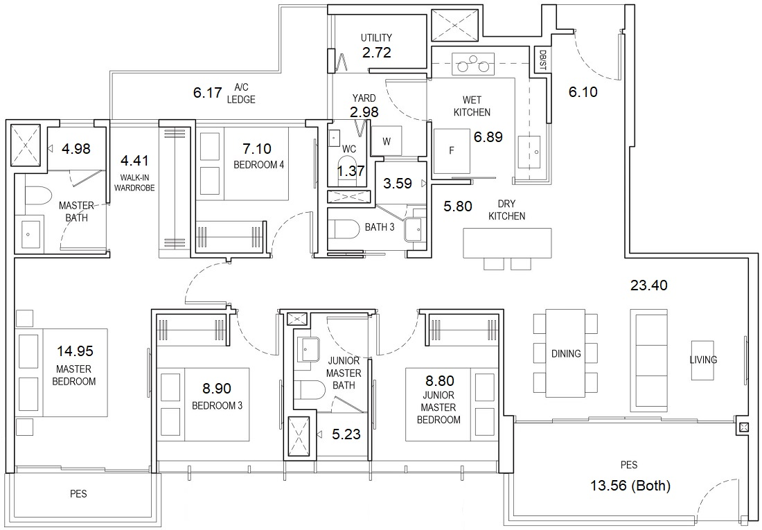 Piermont Grand Floor Plan 4 Bedroom Premium Type B4-P1 127 Sqm / 1367 Sqft Showflat Layout