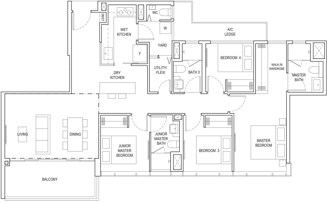 Piermont Grand EC 4 Bedroom Premium Floor Plan Type B5 127 Sqm / 1367 Sqft