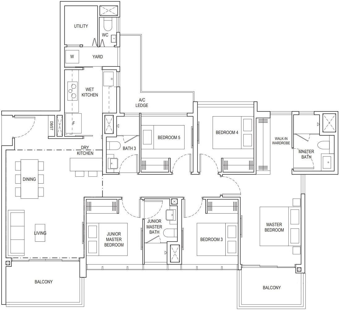 Piermont Grand EC 5 Bedroom Premium Floor Plan Type C1 133 Sqm / 1432 Sqft