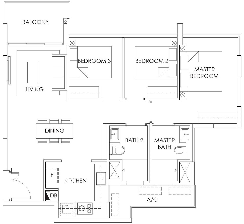 Ola EC Show Unit Floor Plan 3BR B1 86_926