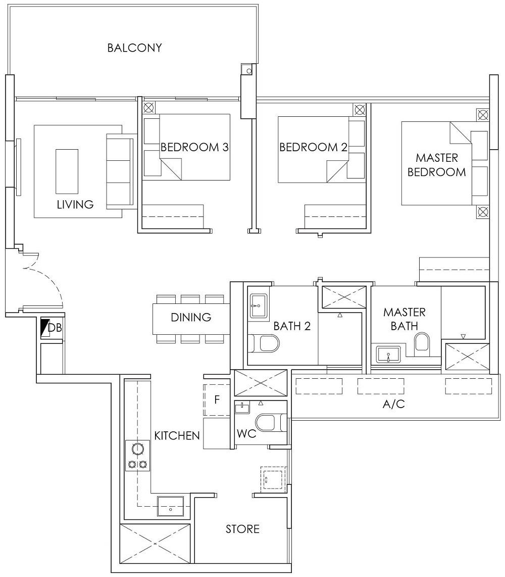 Ola EC Show Unit Floor Plan 3PR B5_98_1055