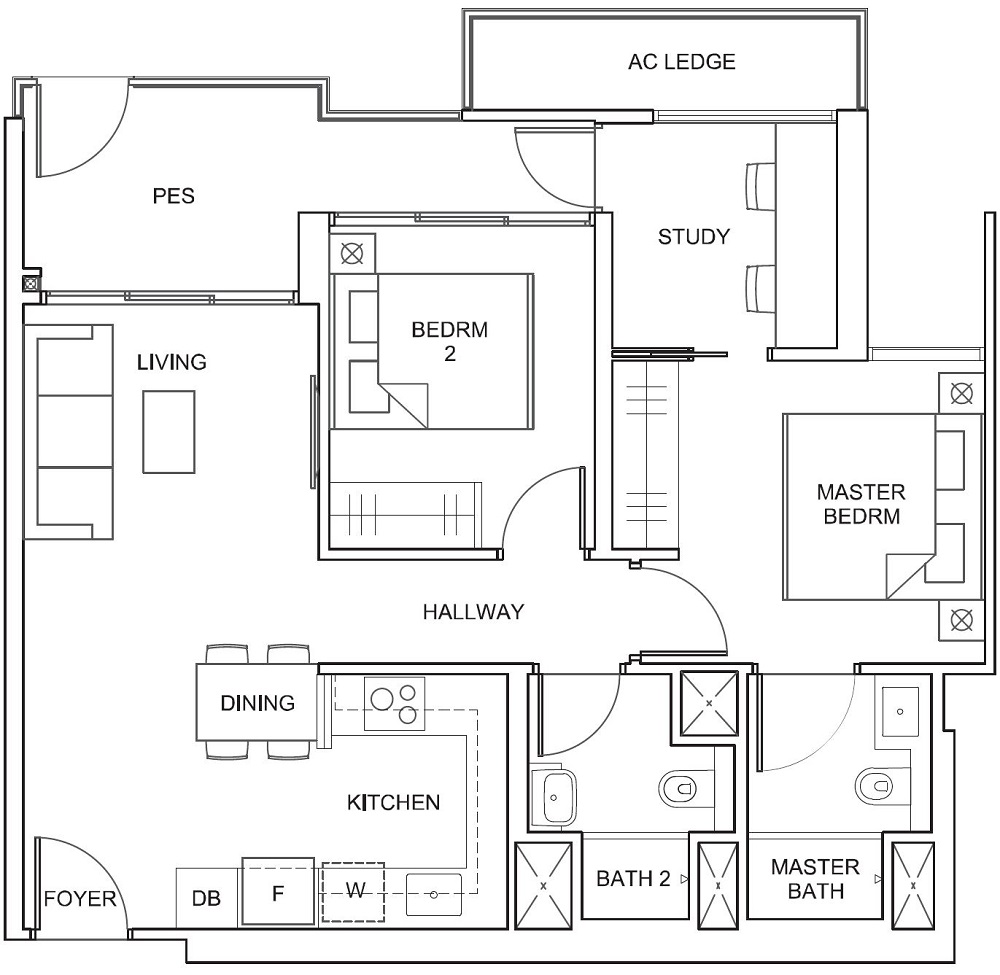 Parc Canberra EC Floor Plan 2BR B1-G 77_829