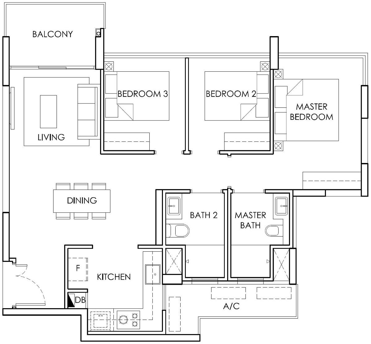 Ola EC 3 Bedroom Type B1 Floor Plan