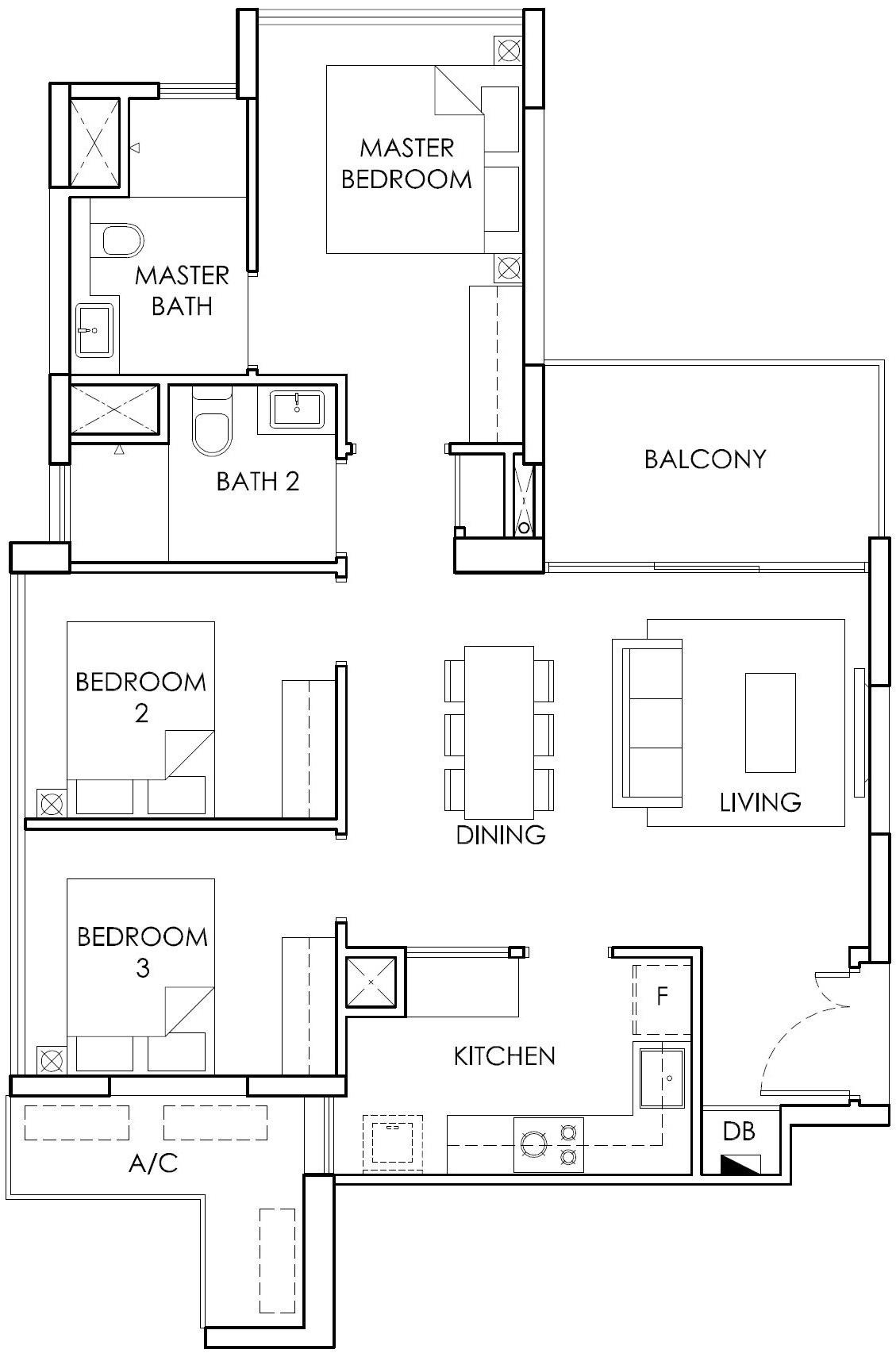 Ola EC 3 Bedroom Type B2 Floor Plan