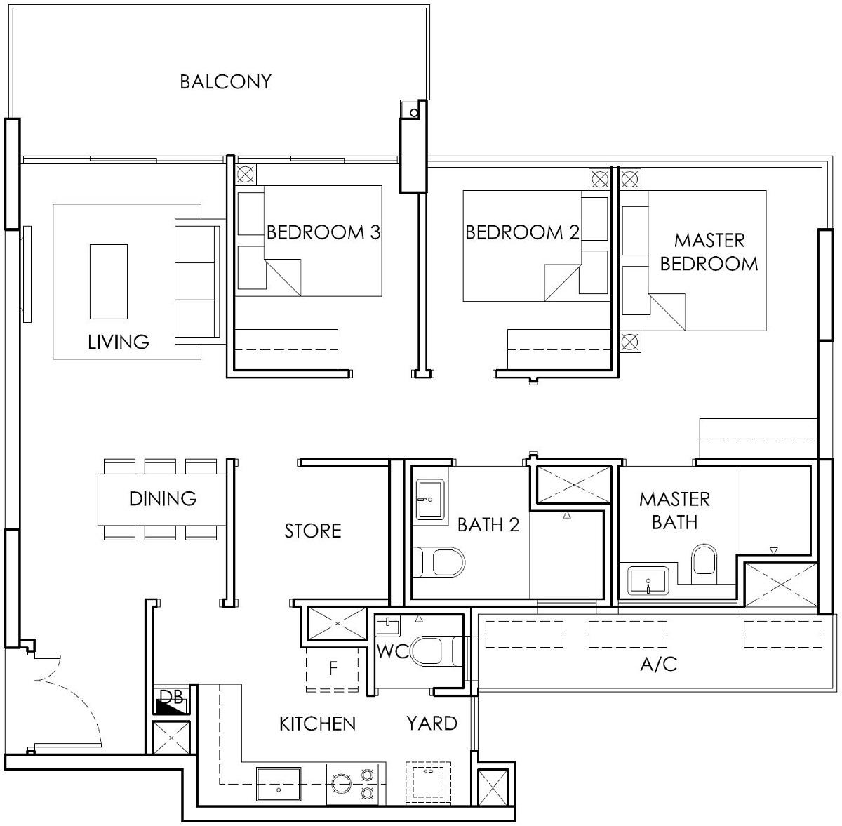 Ola EC 3 Bedroom with Store Type B3 Floor Plan