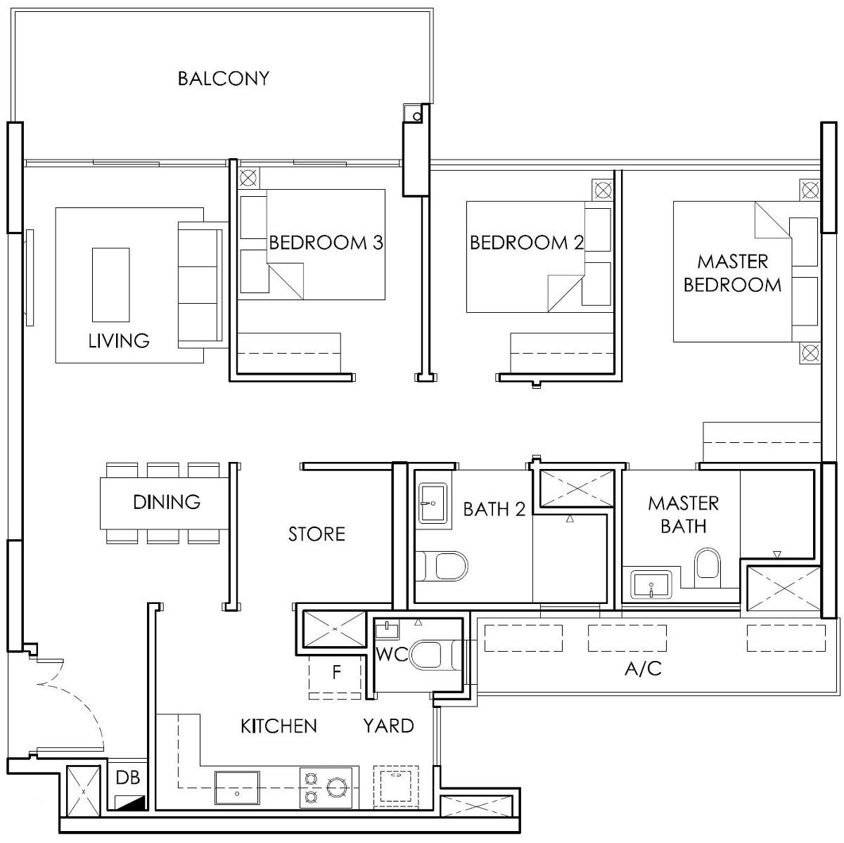 Ola EC 3 Bedroom with Store Type B4 Floor Plan
