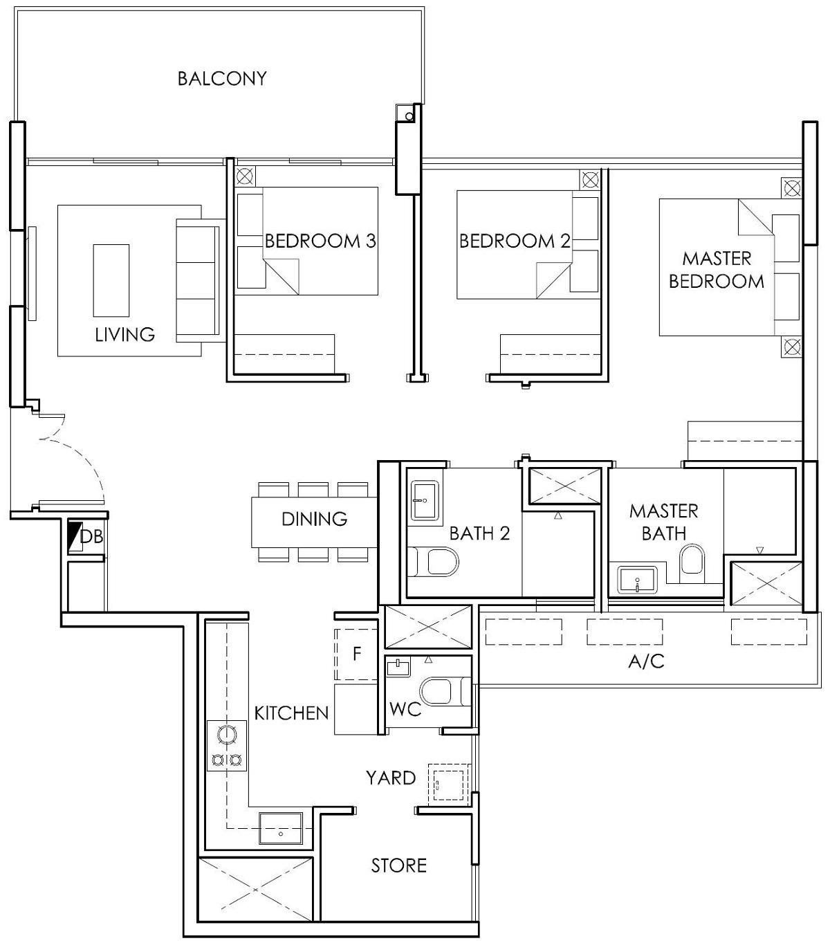 Ola EC 3 Bedroom with Store Type B5 Floor Plan