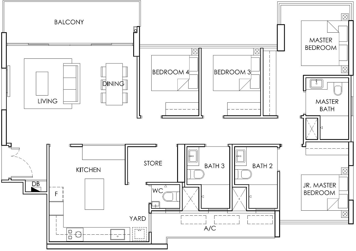 Ola EC 4 Bedroom with Store Type C1 Floor Plan