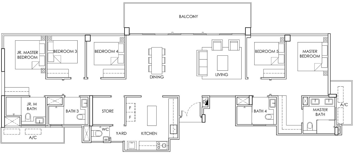 Ola EC 5 Bedroom with Store Type PH2 Floor Plan