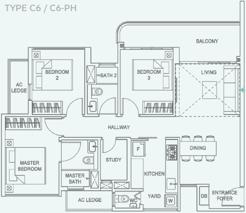 Hundred Palms Residences EC Type C6 Floor Plan