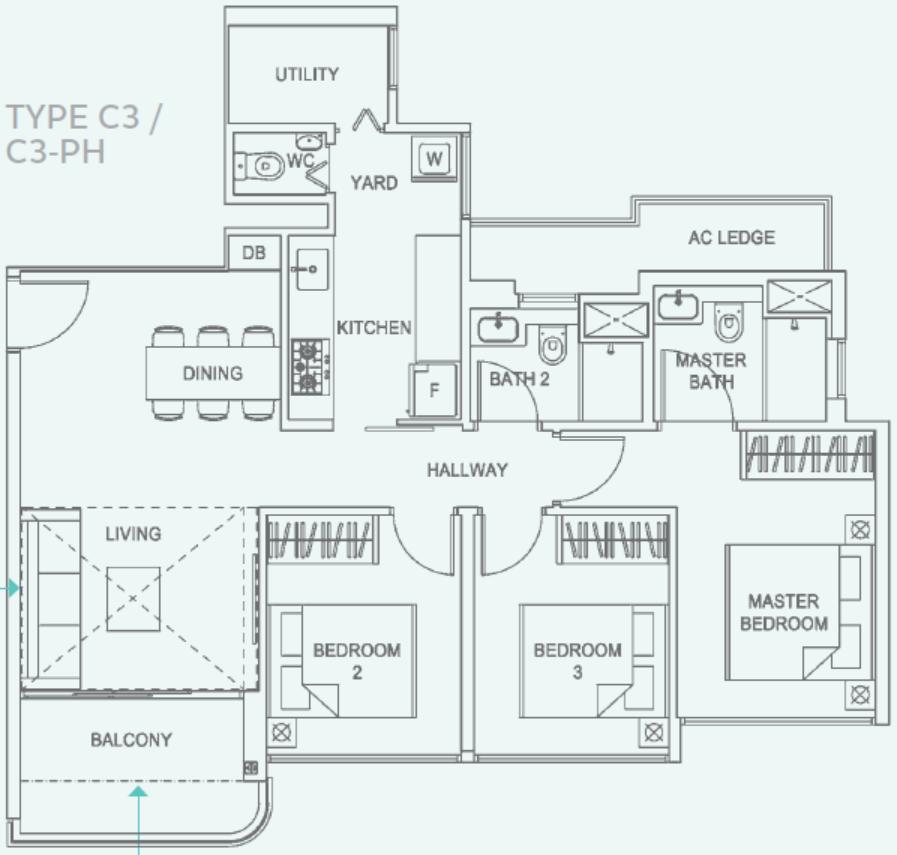 Hundred Palms Residences Type C3 Floor Plan