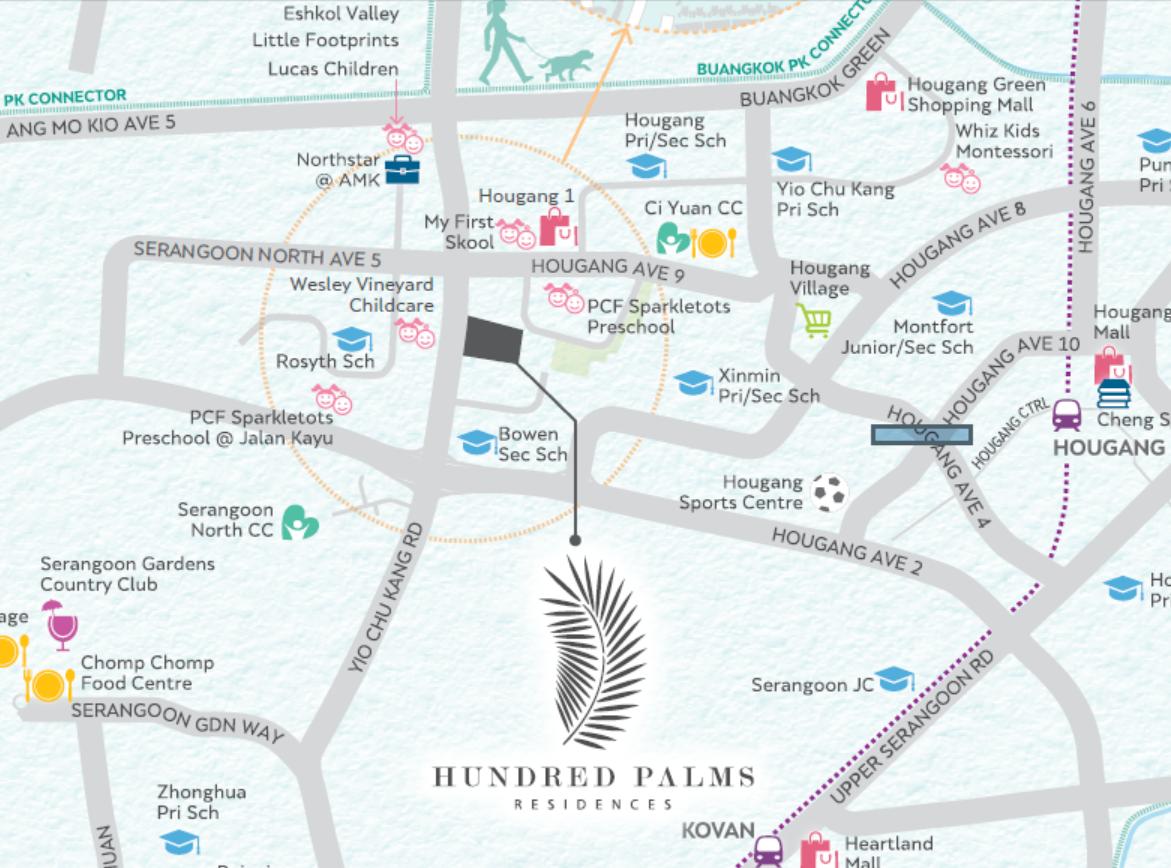 Hundred Palms Residences EC Location Map