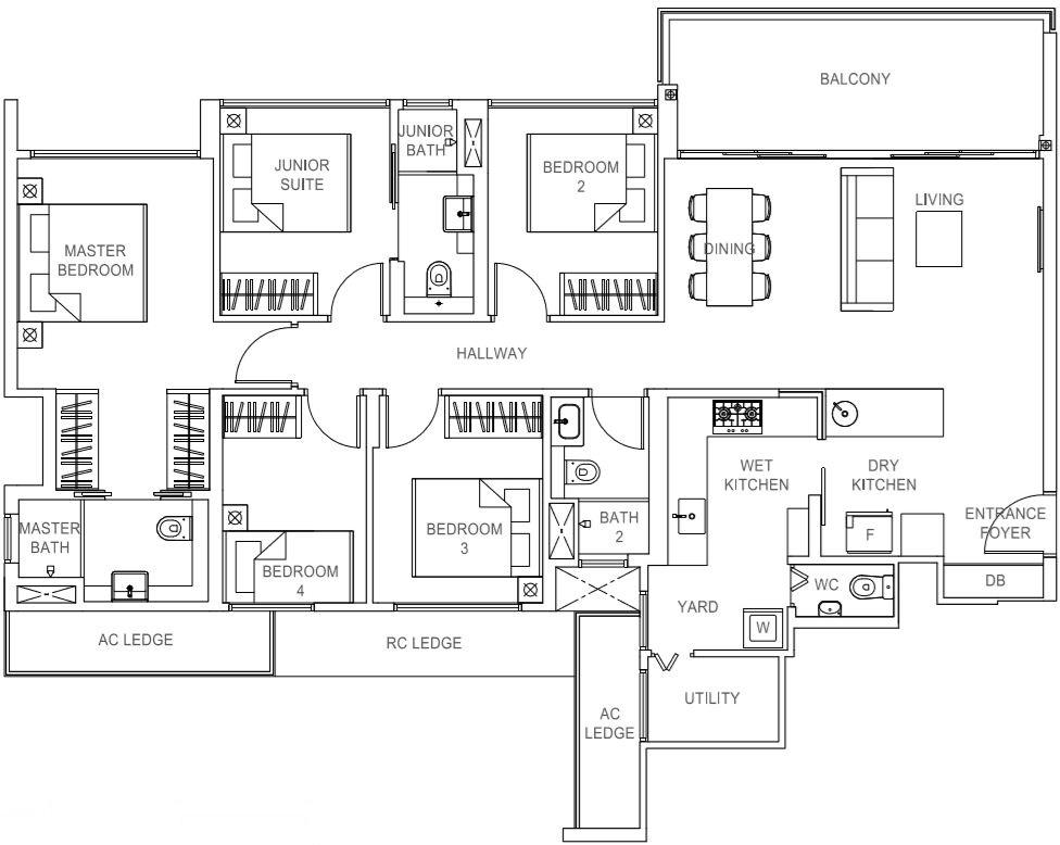 Rivercove Residences EC Type E1 Floor Plan