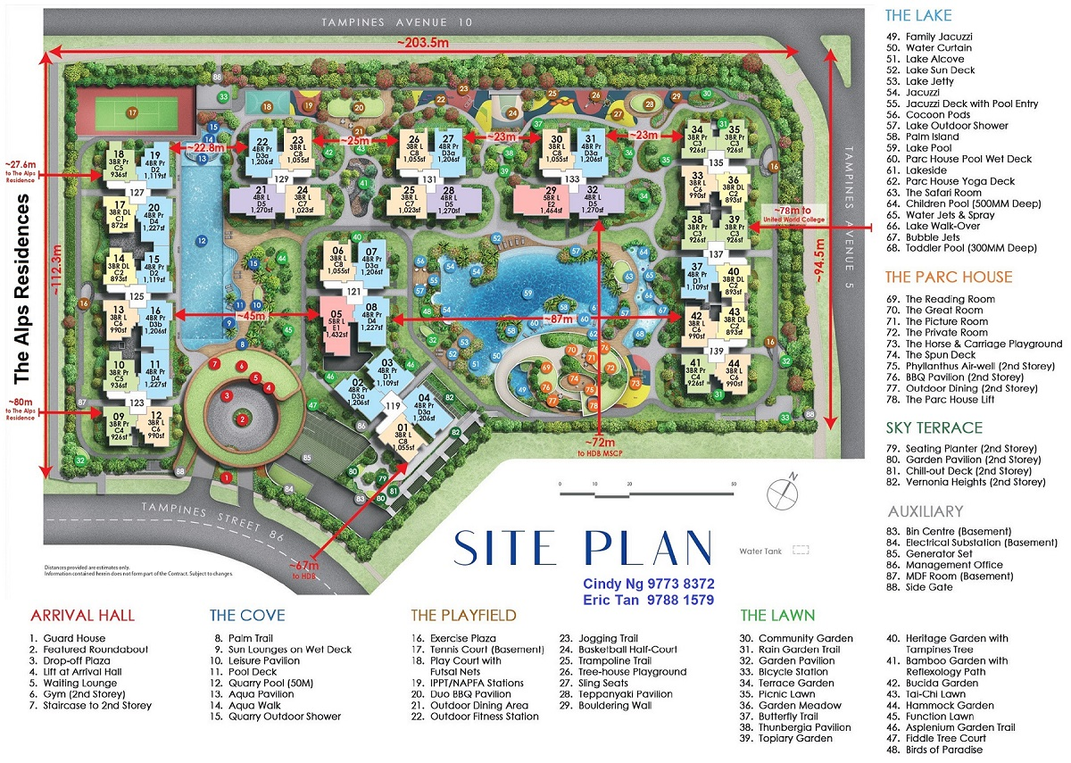 Parc Central Residences Site Plan with Room Type Area & Distance