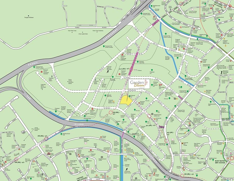 HDB BTO May 2021 Garden Bloom @ Tengah Location Map