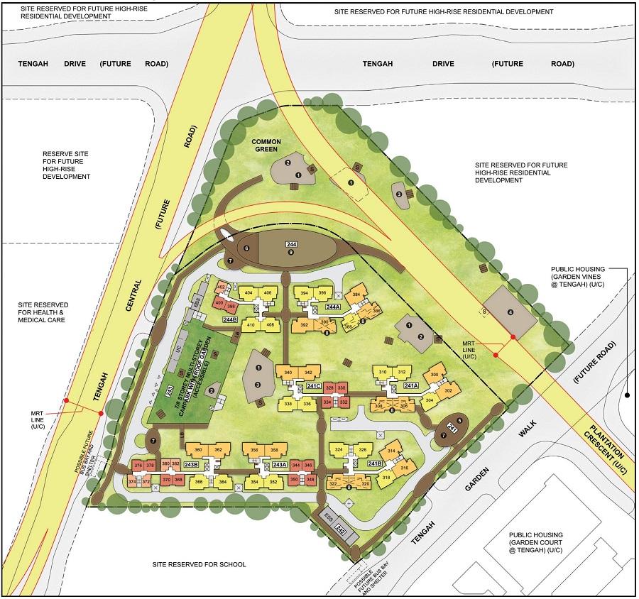 HDB BTO May 2021 Garden Bloom @ Tengah Site Plan