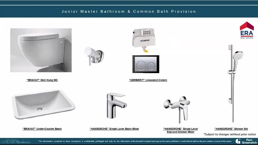 Parc Greenwich Junior Master Bathroom & Common Bath Provision
