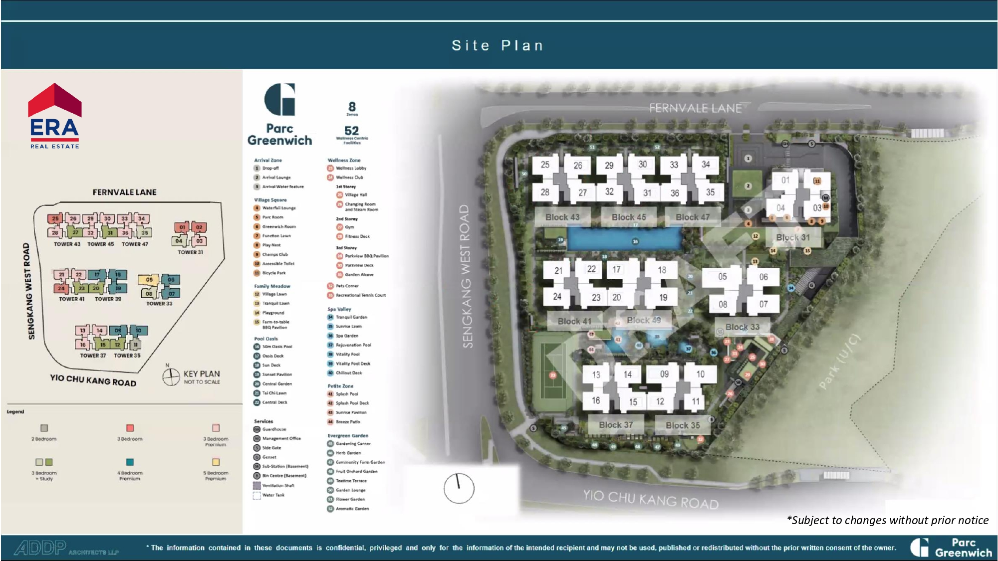 Parc Greenwich Site Plan with Bedroom Type