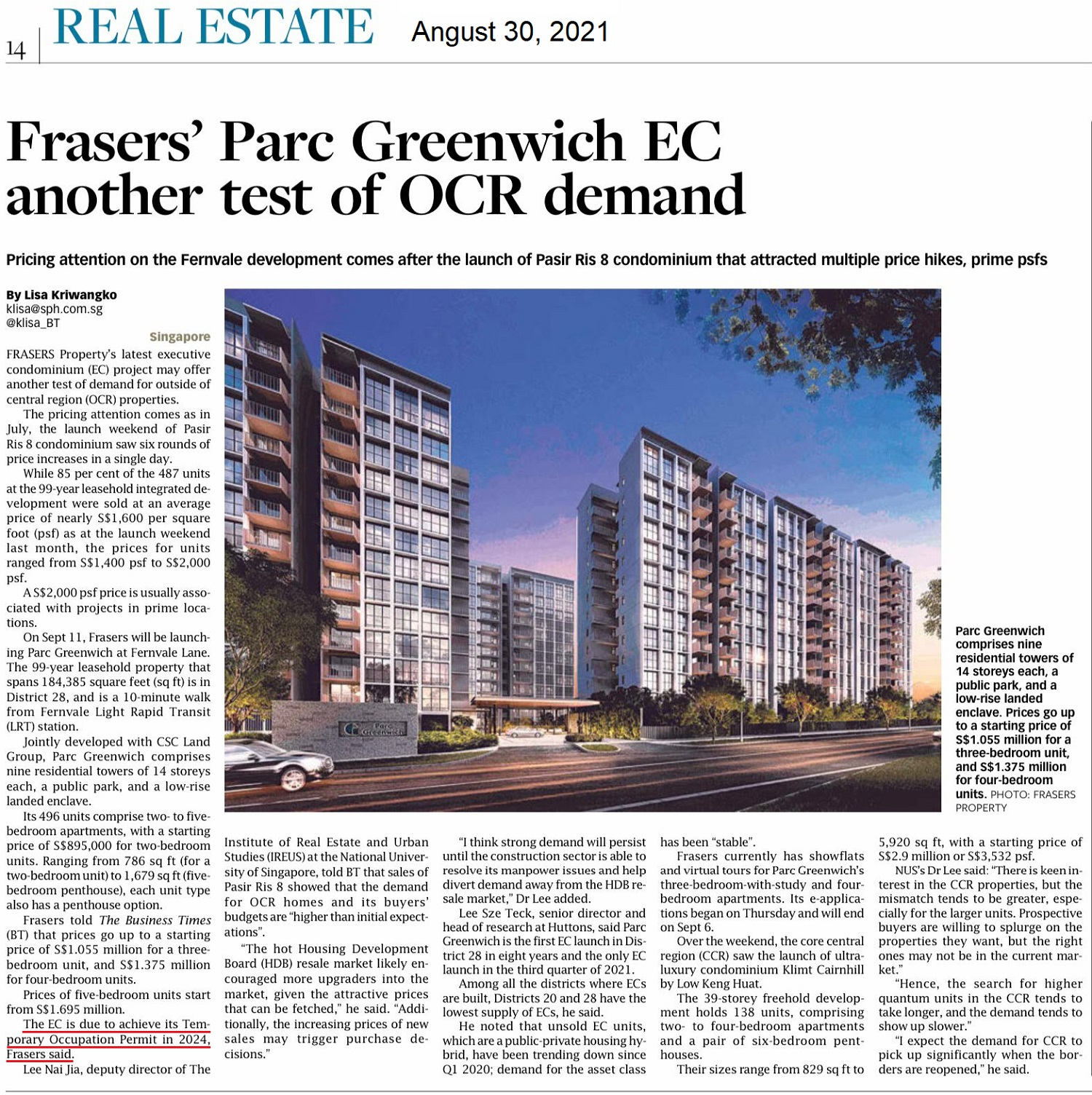 Frasers Parc Greenwich EC News on Business Times 30 Aug 2021