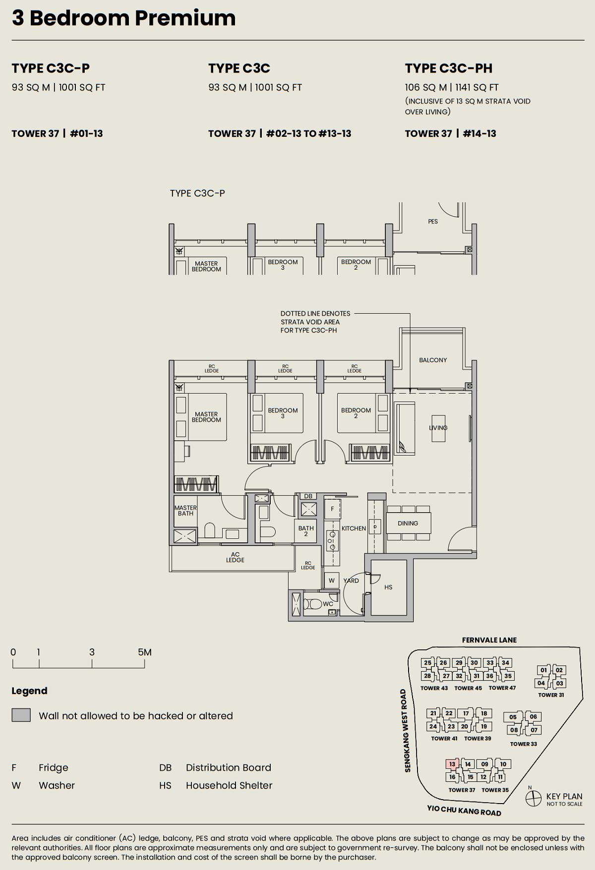 Parc Greenwich EC Floor Plan 3BRP Type C3C 93_1001